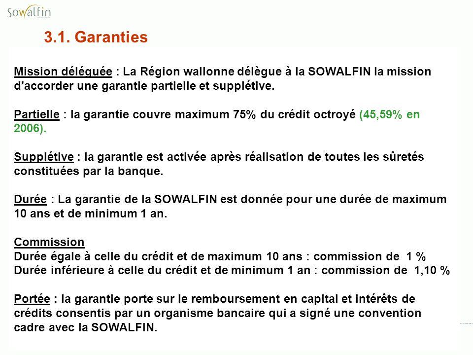 3.1. Garanties Mission déléguée : La Région wallonne délègue à la SOWALFIN la mission d accorder une garantie partielle et supplétive.