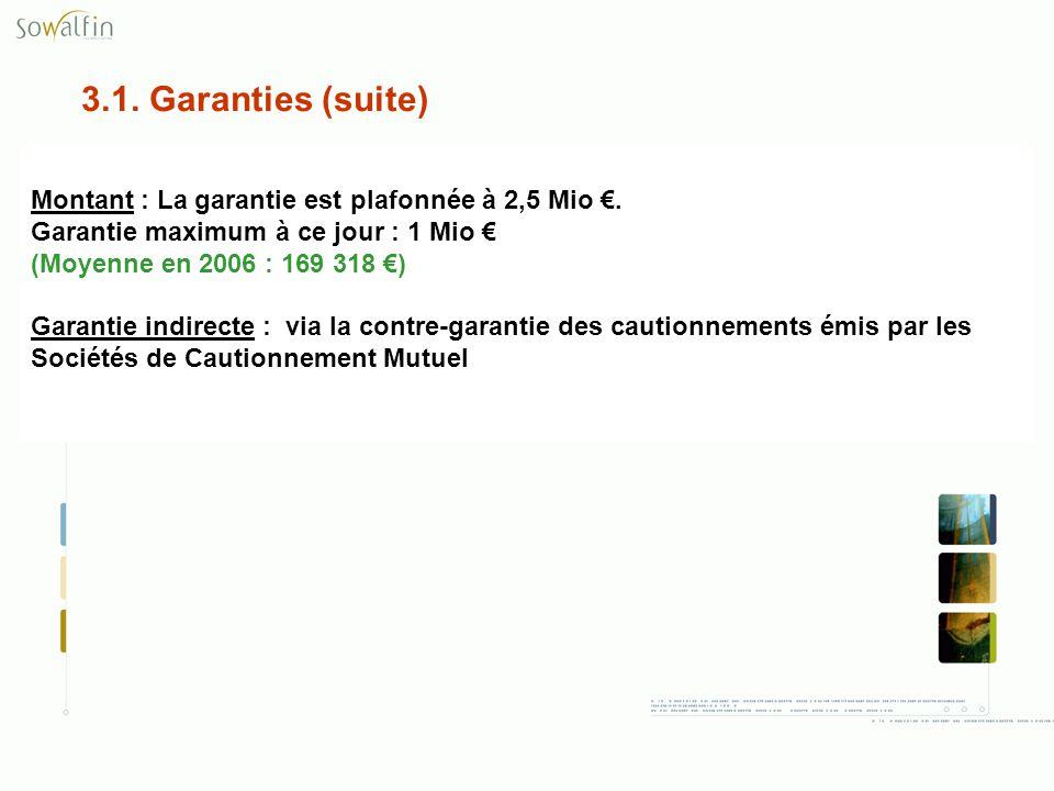 3.1. Garanties (suite) Montant : La garantie est plafonnée à 2,5 Mio €. Garantie maximum à ce jour : 1 Mio €