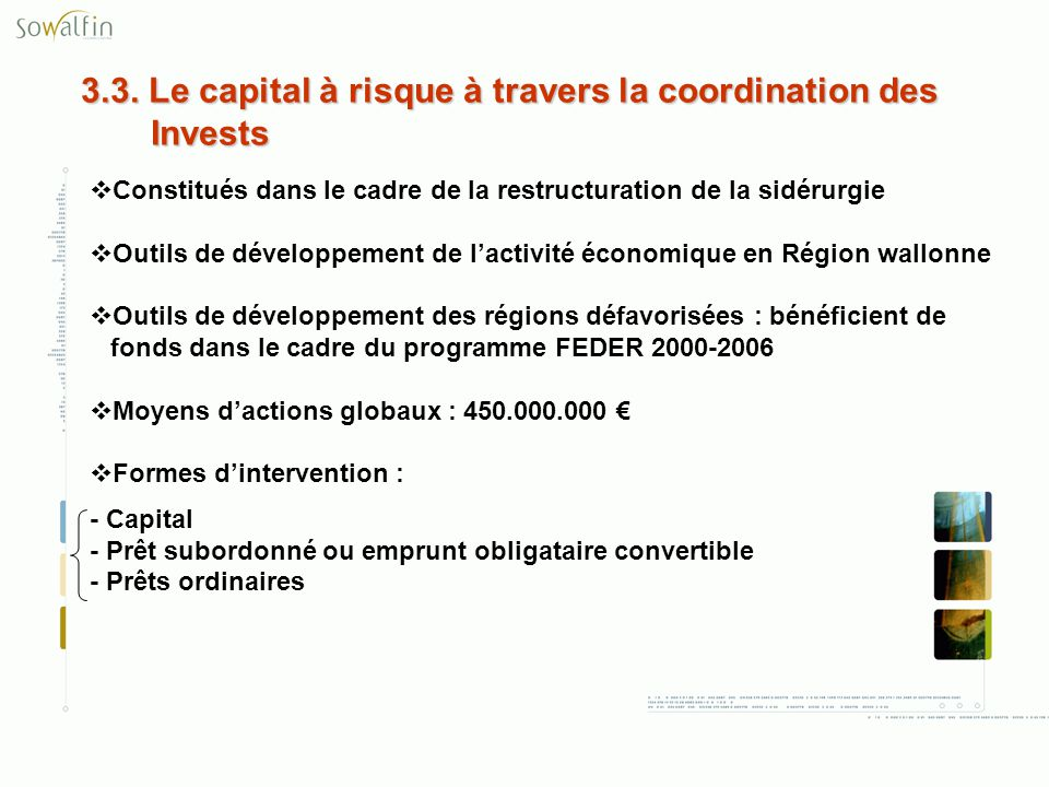 3.3. Le capital à risque à travers la coordination des Invests