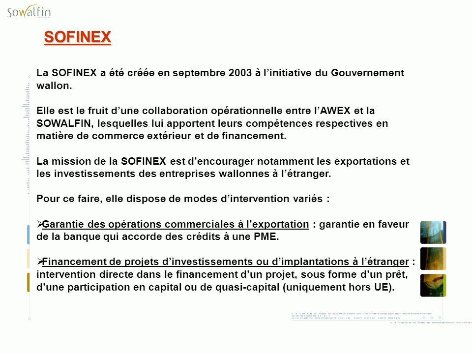 SOFINEX La SOFINEX a été créée en septembre 2003 à l'initiative du Gouvernement wallon.