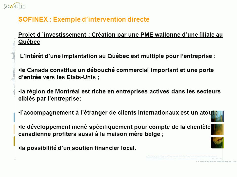 SOFINEX : Exemple d'intervention directe