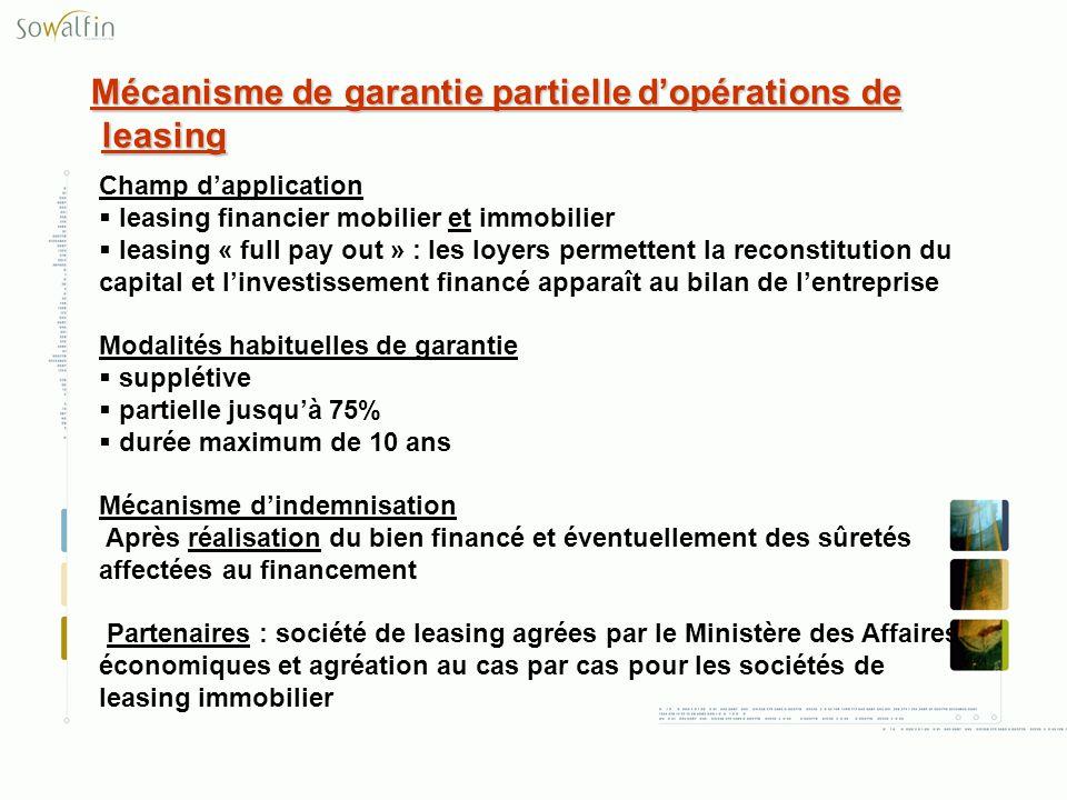 Mécanisme de garantie partielle d'opérations de leasing