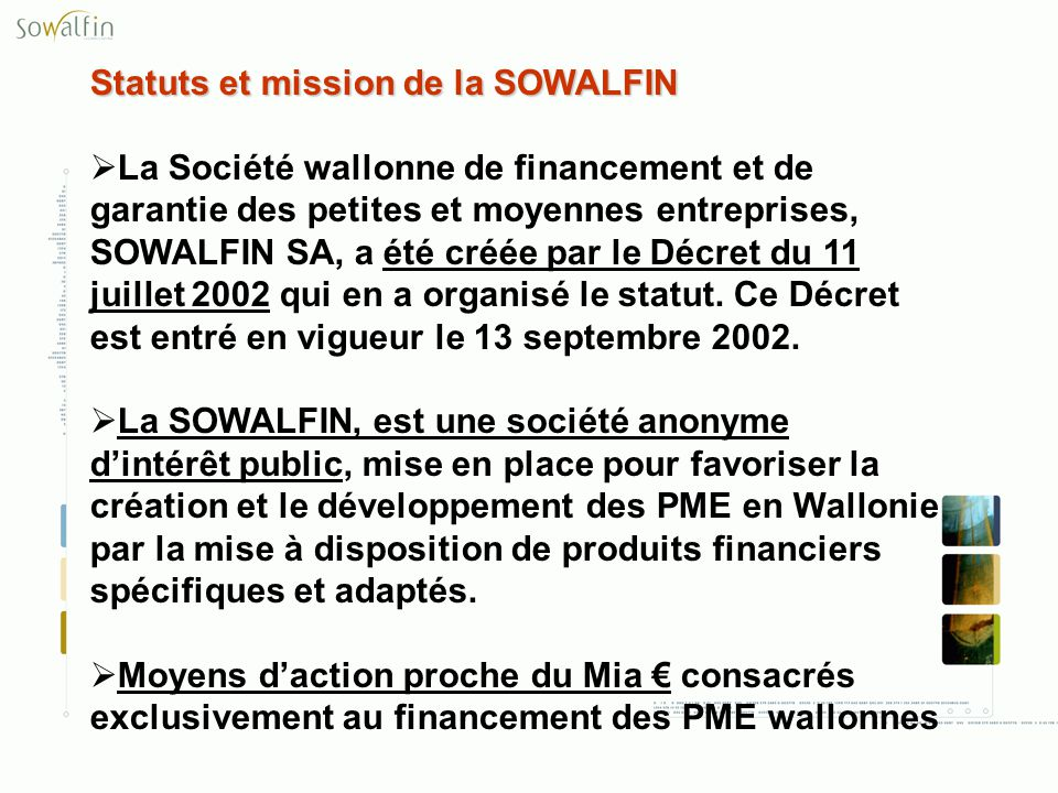 Statuts et mission de la SOWALFIN