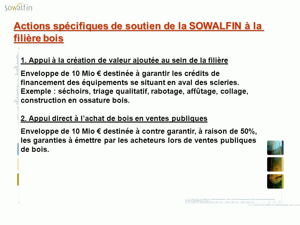 Actions spécifiques de soutien de la SOWALFIN à la filière bois