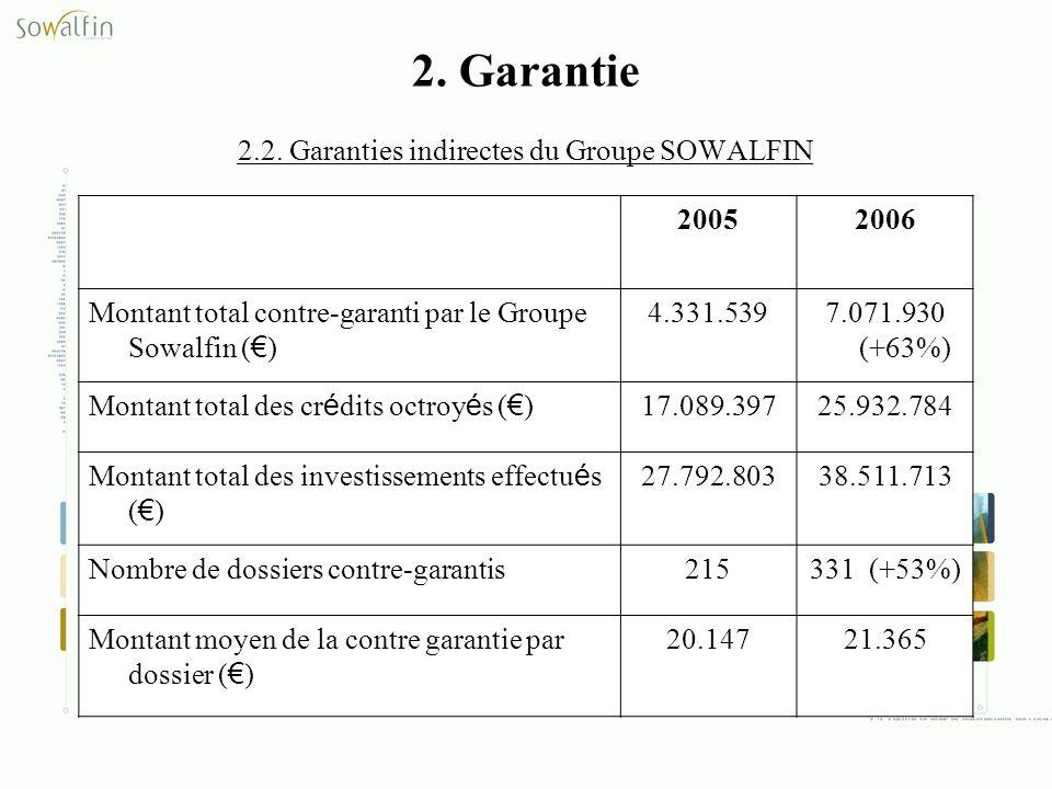 2. Garantie 2.2. Garanties indirectes du Groupe SOWALFIN