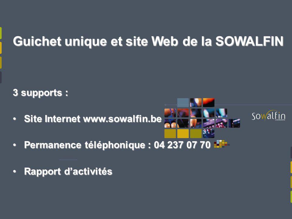 Guichet unique et site Web de la SOWALFIN