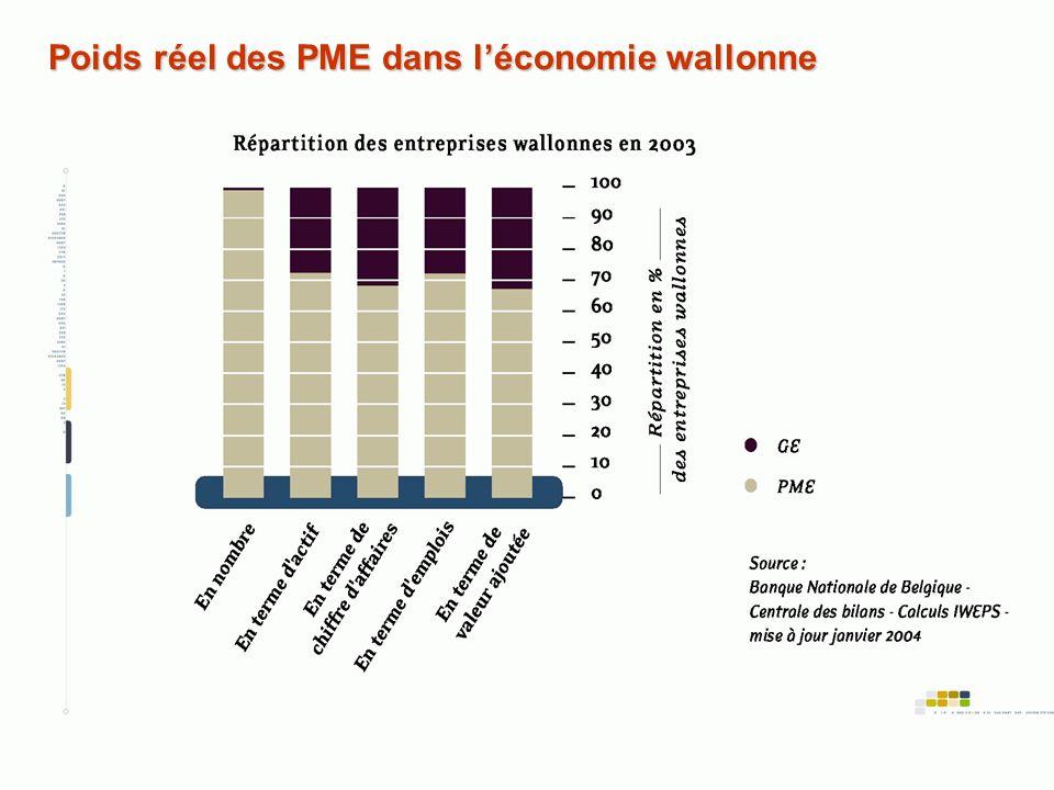 Poids réel des PME dans l'économie wallonne