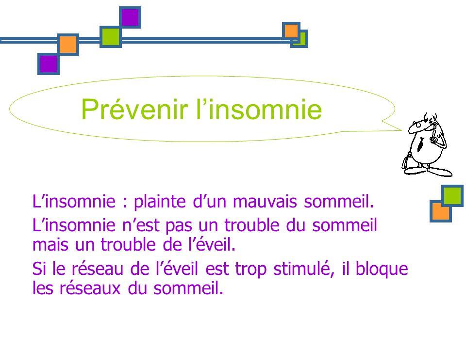 Prévenir l'insomnie L'insomnie : plainte d'un mauvais sommeil.