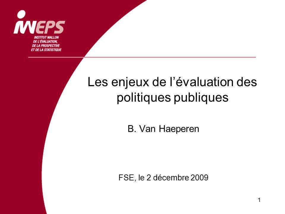 Les enjeux de l'évaluation des politiques publiques