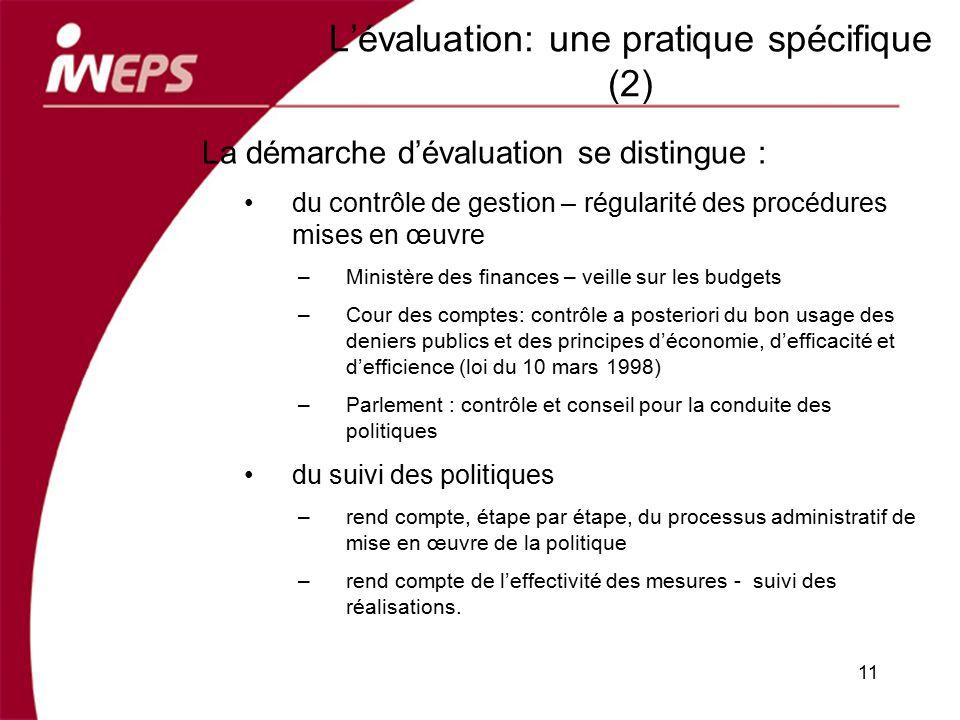 L'évaluation: une pratique spécifique (2)