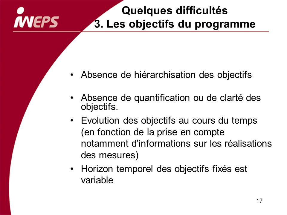 Quelques difficultés 3. Les objectifs du programme