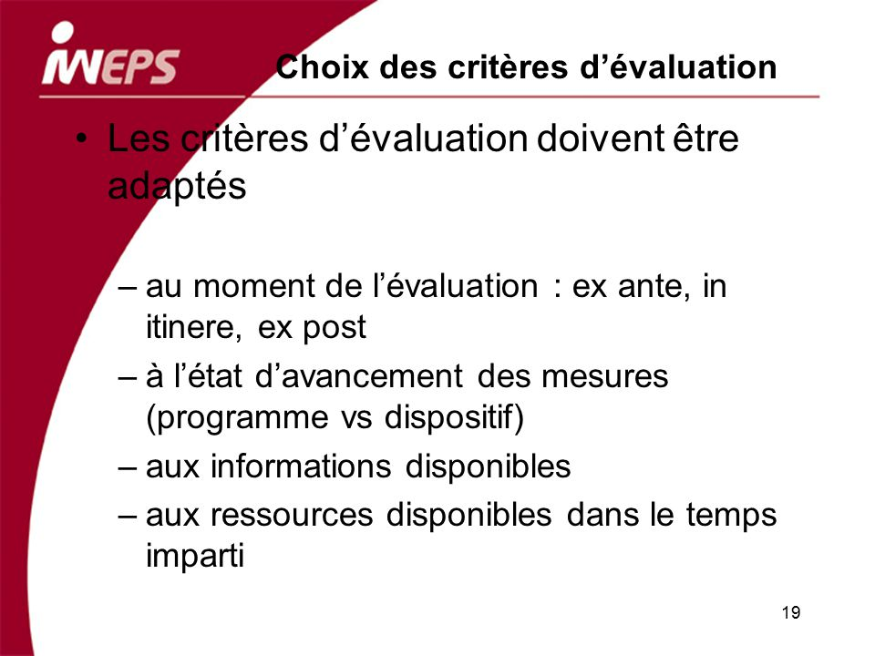 Choix des critères d'évaluation