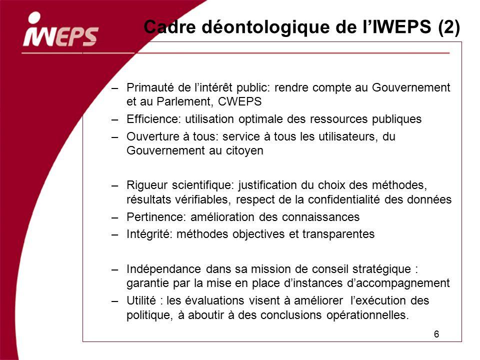 Cadre déontologique de l'IWEPS (2)