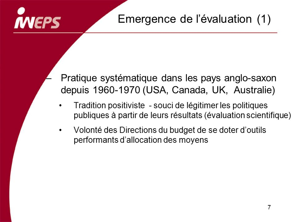 Emergence de l'évaluation (1)