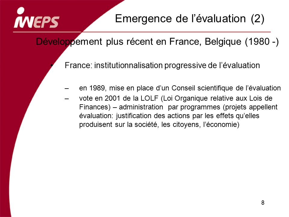 Emergence de l'évaluation (2)