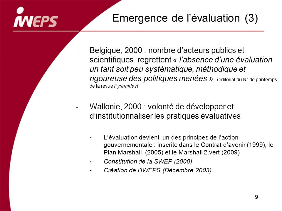 Emergence de l'évaluation (3)
