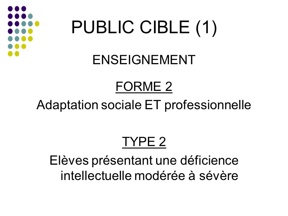 PUBLIC CIBLE (1) ENSEIGNEMENT FORME 2