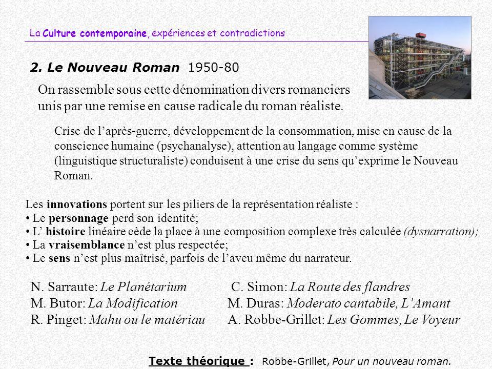 N. Sarraute: Le Planétarium C. Simon: La Route des flandres