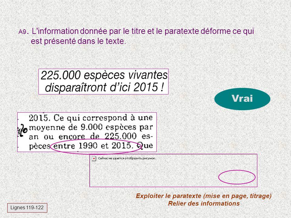 Exploiter le paratexte (mise en page, titrage) Relier des informations