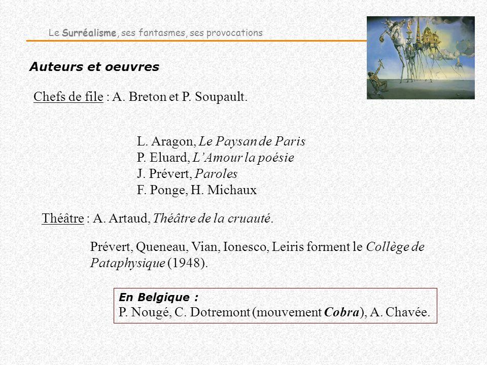 Chefs de file : A. Breton et P. Soupault.