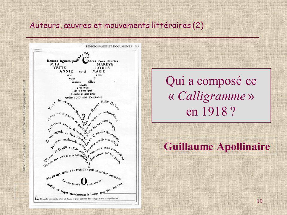 Qui a composé ce « Calligramme » en 1918