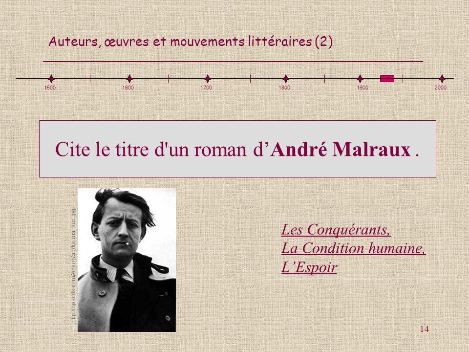 Cite le titre d un roman d'André Malraux .