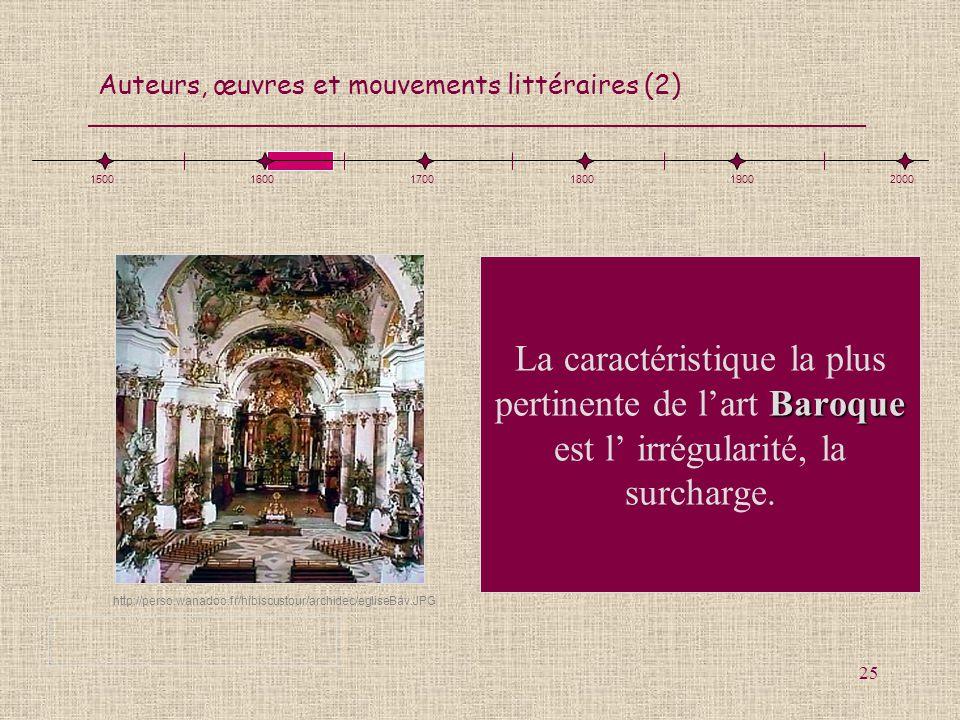1500 1600. 1700. 1800. 1900. 2000. La caractéristique la plus pertinente de l'art Baroque est l' irrégularité, la surcharge.