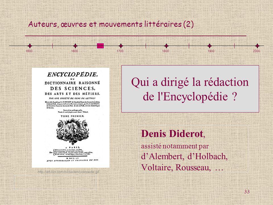 Qui a dirigé la rédaction de l Encyclopédie
