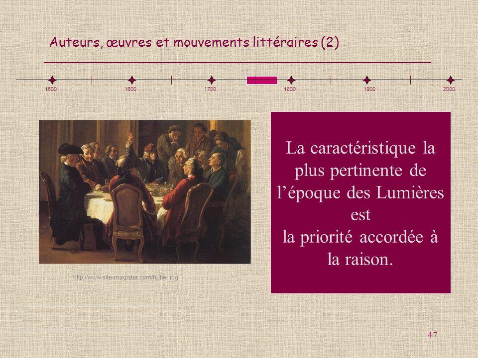 1500 1600. 1700. 1800. 1900. 2000. La caractéristique la plus pertinente de l'époque des Lumières est la priorité accordée à la raison.