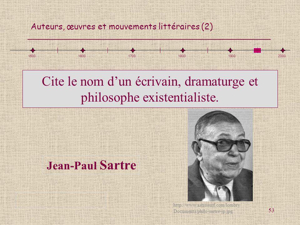 Cite le nom d'un écrivain, dramaturge et philosophe existentialiste.
