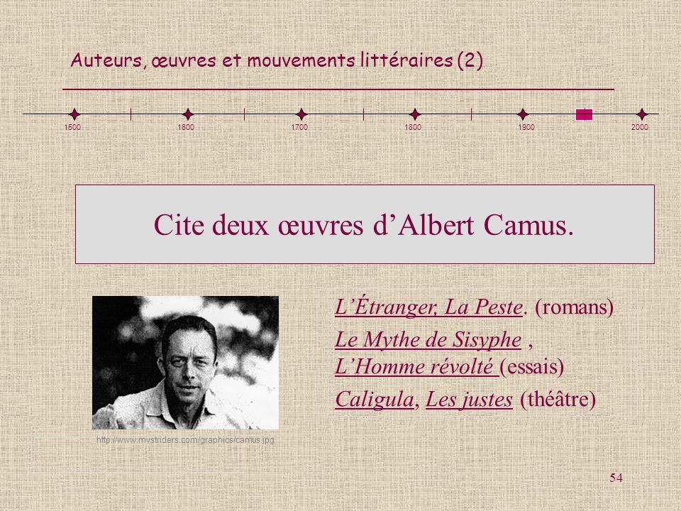 Cite deux œuvres d'Albert Camus.