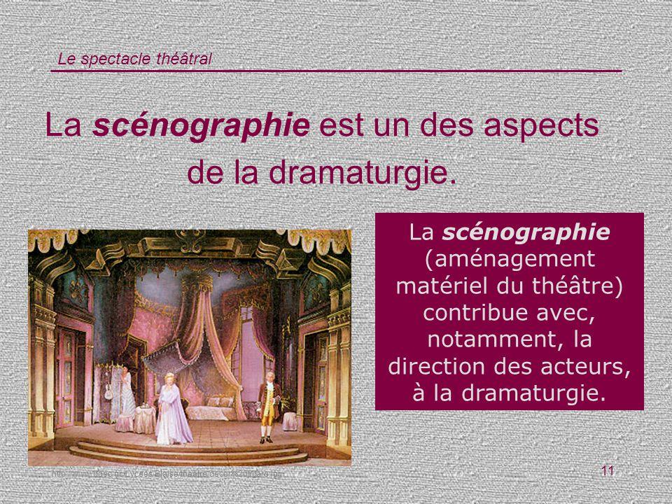 La scénographie est un des aspects de la dramaturgie.