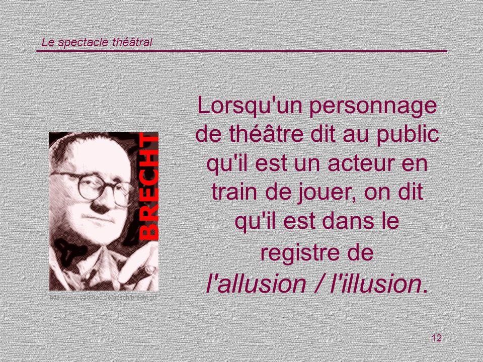 Lorsqu un personnage de théâtre dit au public qu il est un acteur en train de jouer, on dit qu il est dans le registre de l allusion / l illusion.