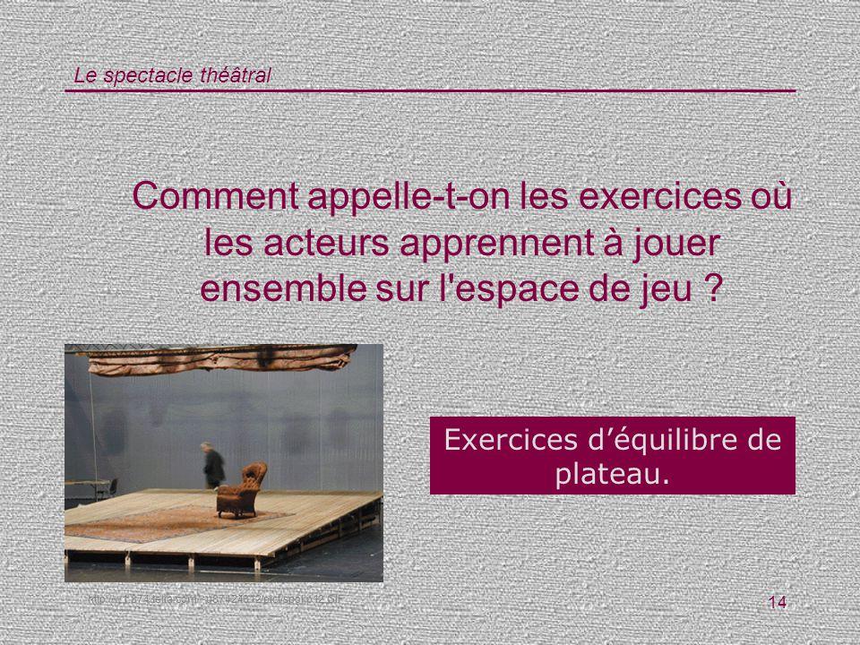 Exercices d'équilibre de plateau.