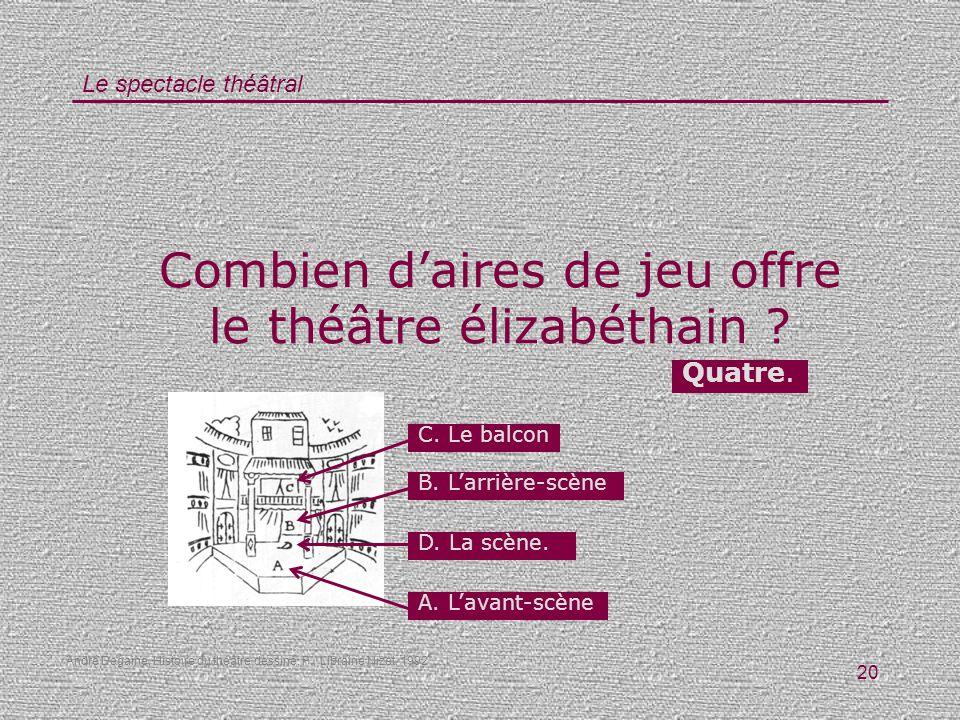 Combien d'aires de jeu offre le théâtre élizabéthain