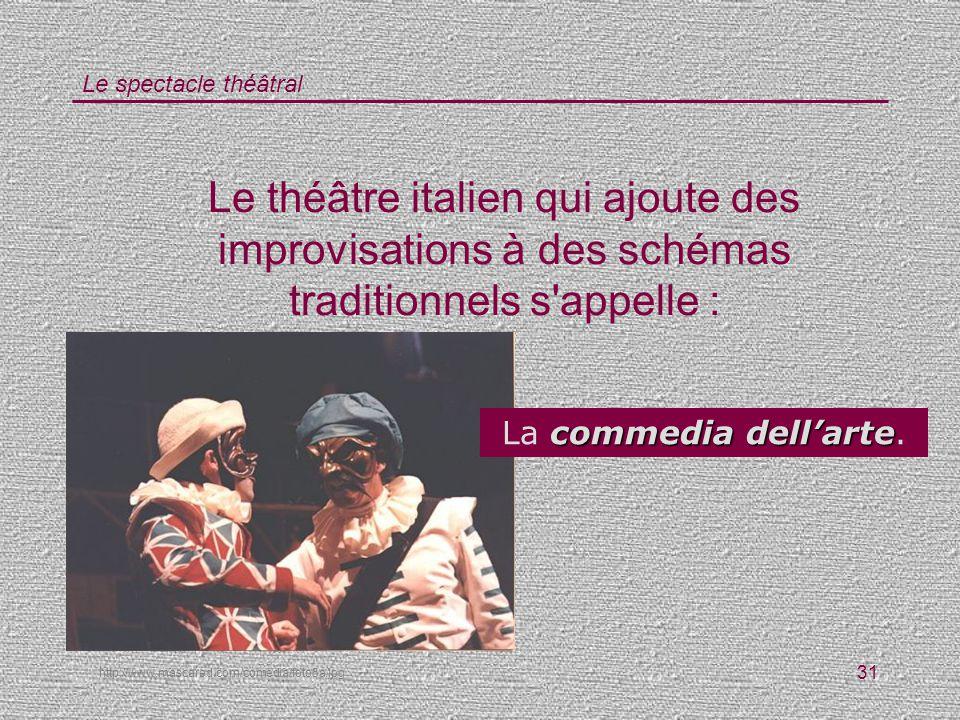 Le théâtre italien qui ajoute des improvisations à des schémas traditionnels s appelle :