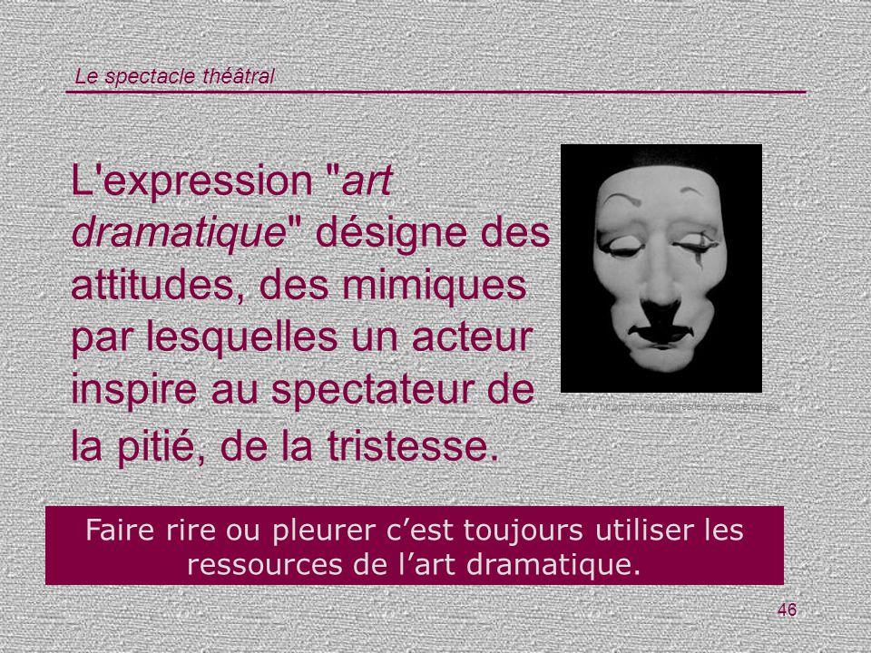 L expression art dramatique désigne des attitudes, des mimiques par lesquelles un acteur inspire au spectateur de la pitié, de la tristesse.