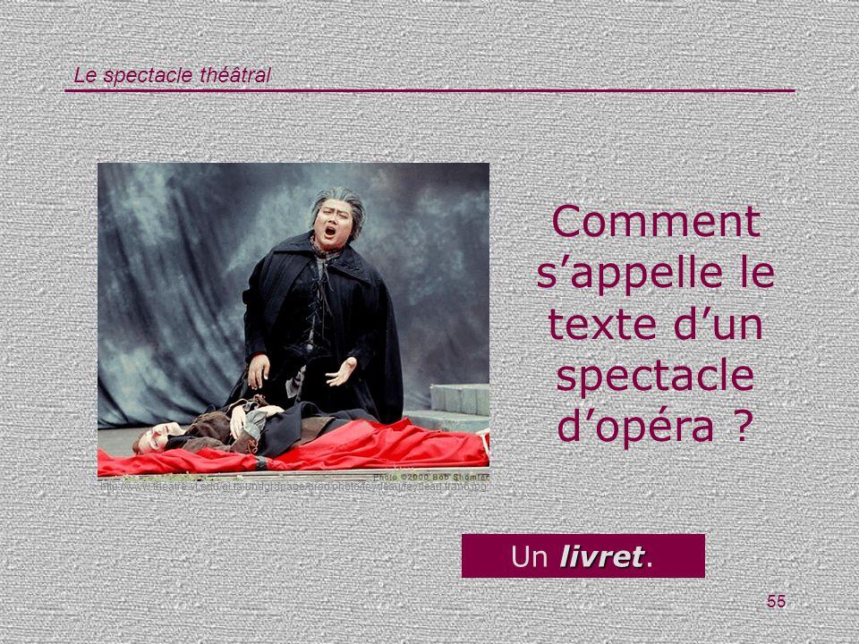 Comment s'appelle le texte d'un spectacle d'opéra
