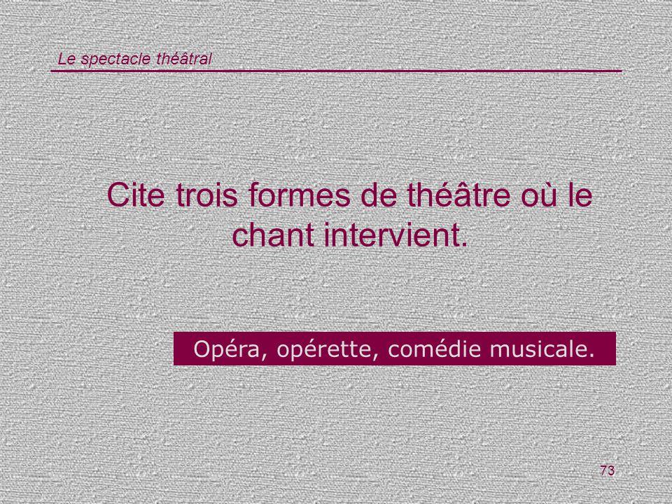 Cite trois formes de théâtre où le chant intervient.