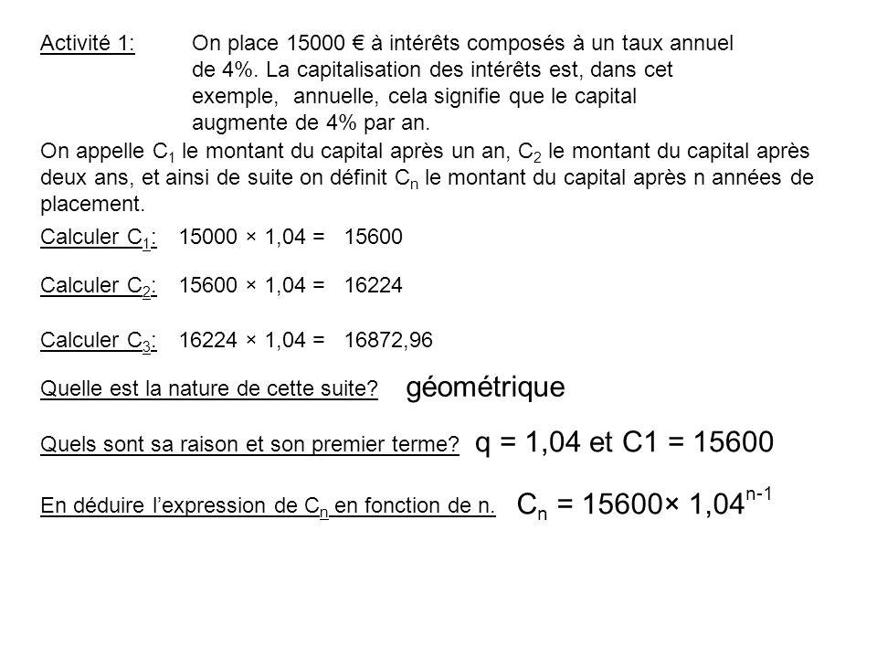 géométrique q = 1,04 et C1 = 15600 Cn = 15600× 1,04n-1 Activité 1: