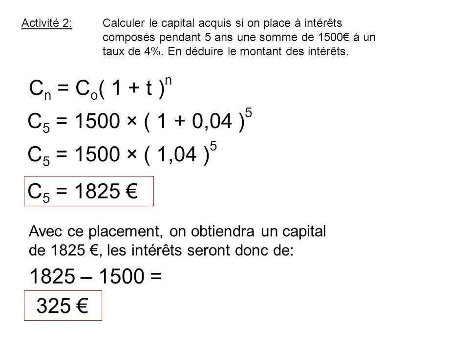 Cn = Co( 1 + t )n C5 = 1500 × ( 1 + 0,04 )5 C5 = 1500 × ( 1,04 )5