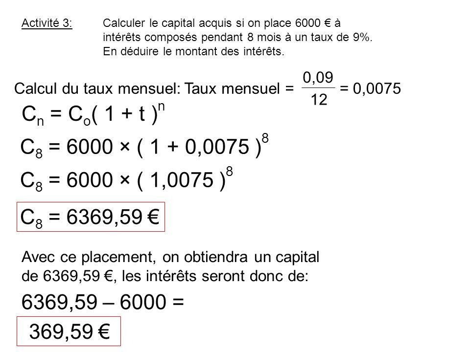 Cn = Co( 1 + t )n C8 = 6000 × ( 1 + 0,0075 )8 C8 = 6000 × ( 1,0075 )8