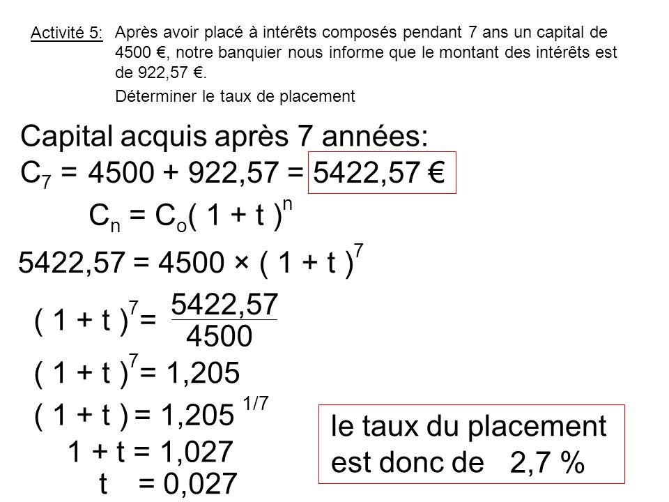 Capital acquis après 7 années: C7 = 4500 + 922,57 = 5422,57 €