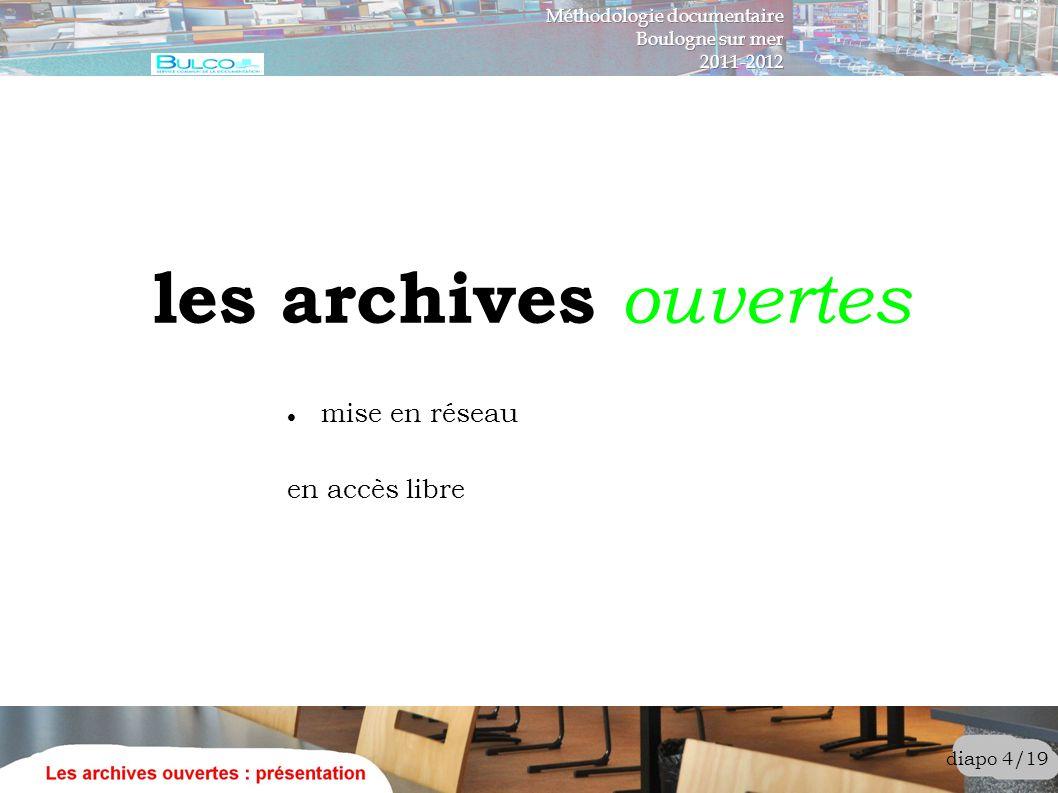 les archives ouvertes mise en réseau en accès libre
