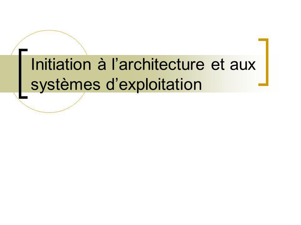 Initiation à l'architecture et aux systèmes d'exploitation