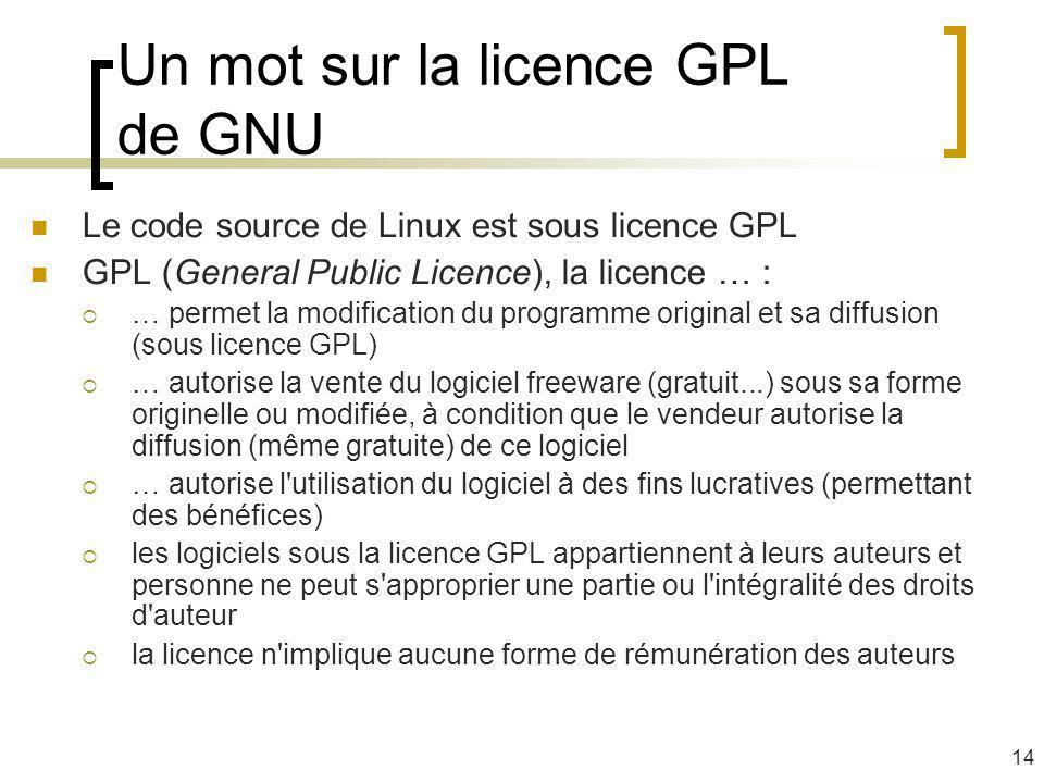 Un mot sur la licence GPL de GNU