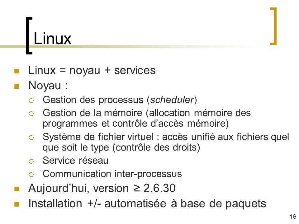 Linux Linux = noyau + services Noyau : Aujourd'hui, version ≥ 2.6.30