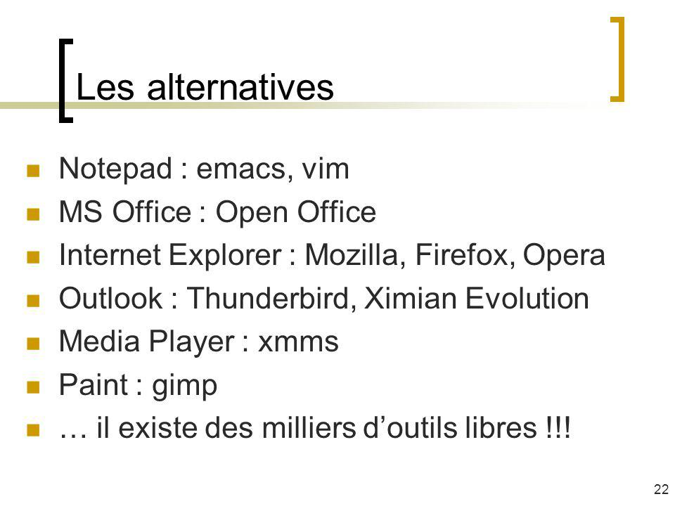 Les alternatives Notepad : emacs, vim MS Office : Open Office