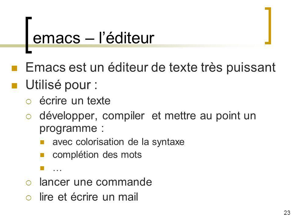 emacs – l'éditeur Emacs est un éditeur de texte très puissant