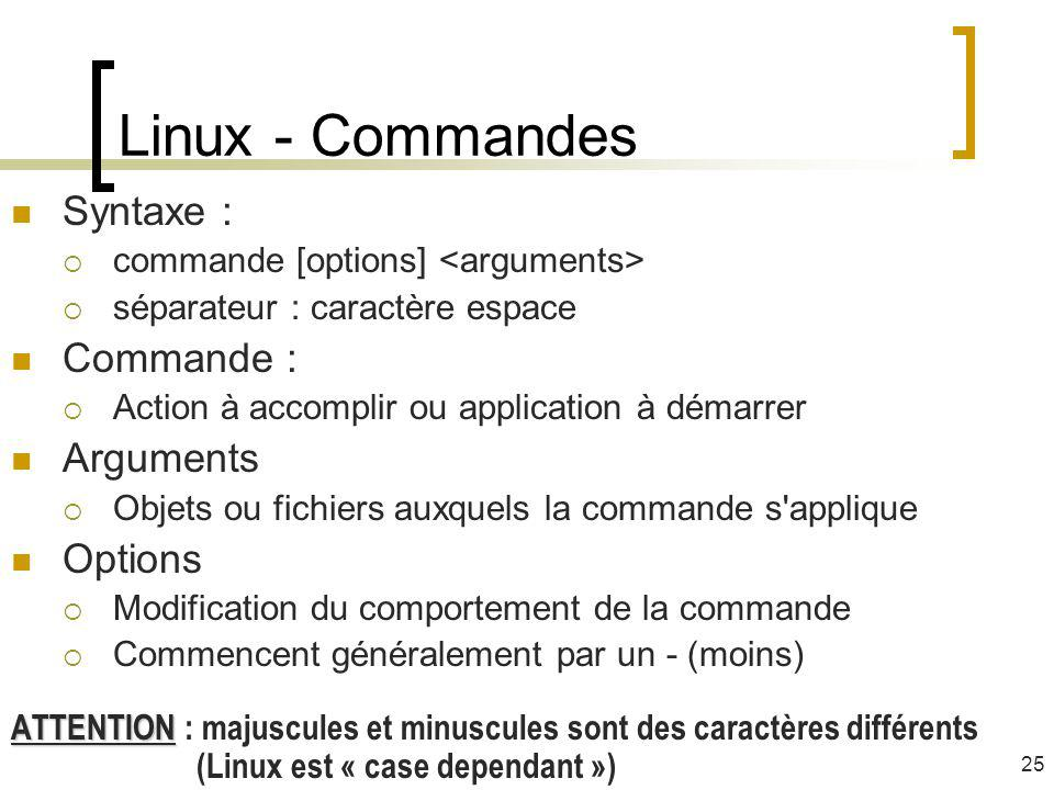 Linux - Commandes Syntaxe : Commande : Arguments Options